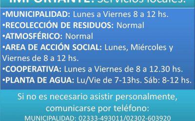 Informamos atención servicios locales